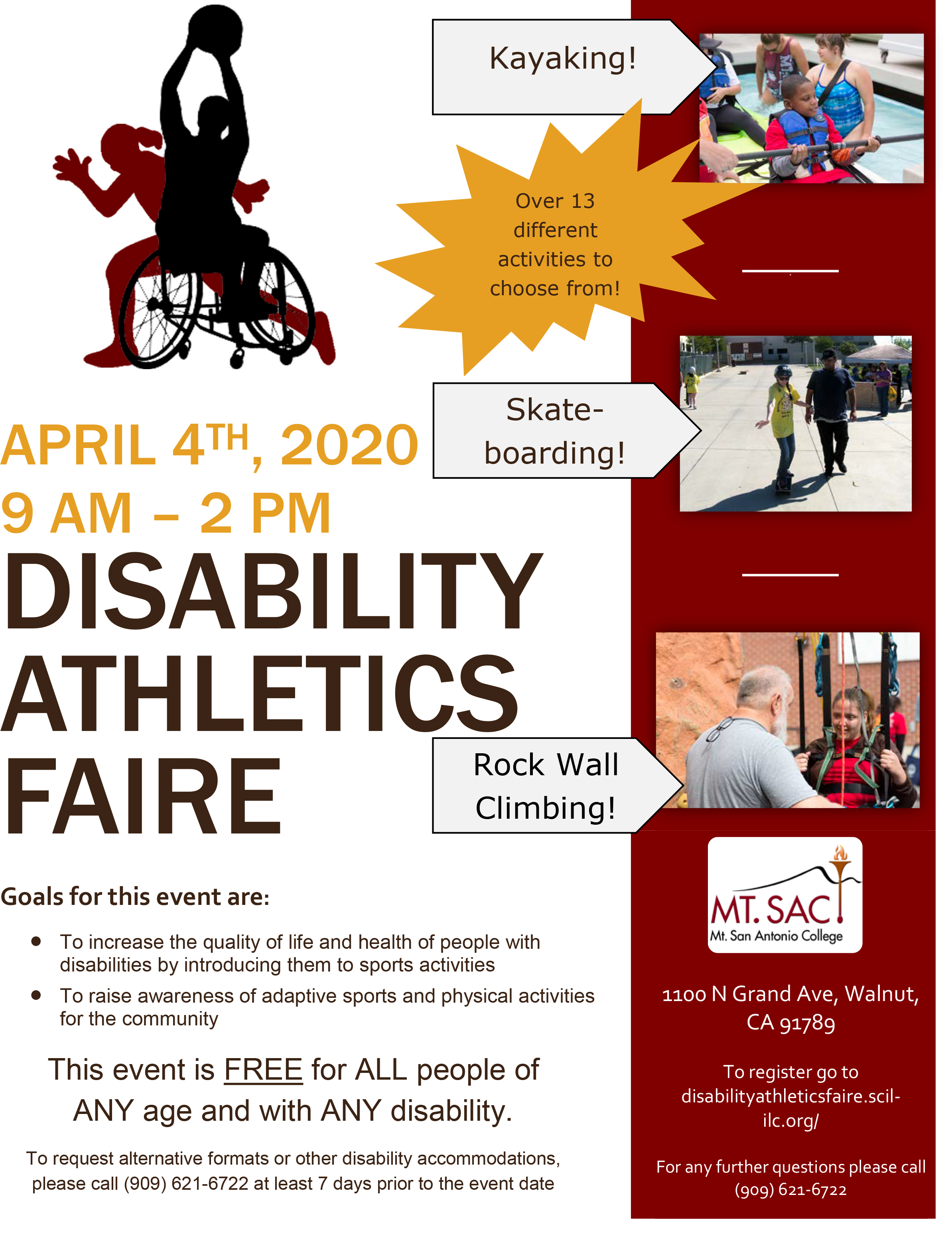 5th Annual Disability Athletics Faire - April 4th, 2020 9 AM to 2 PM